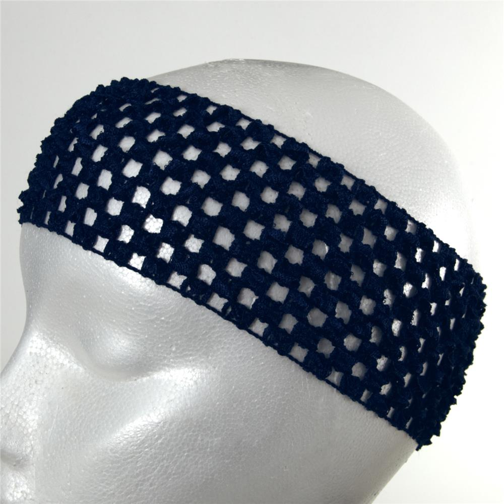 "2 3/4"" Crochet Headband Navy Blue"