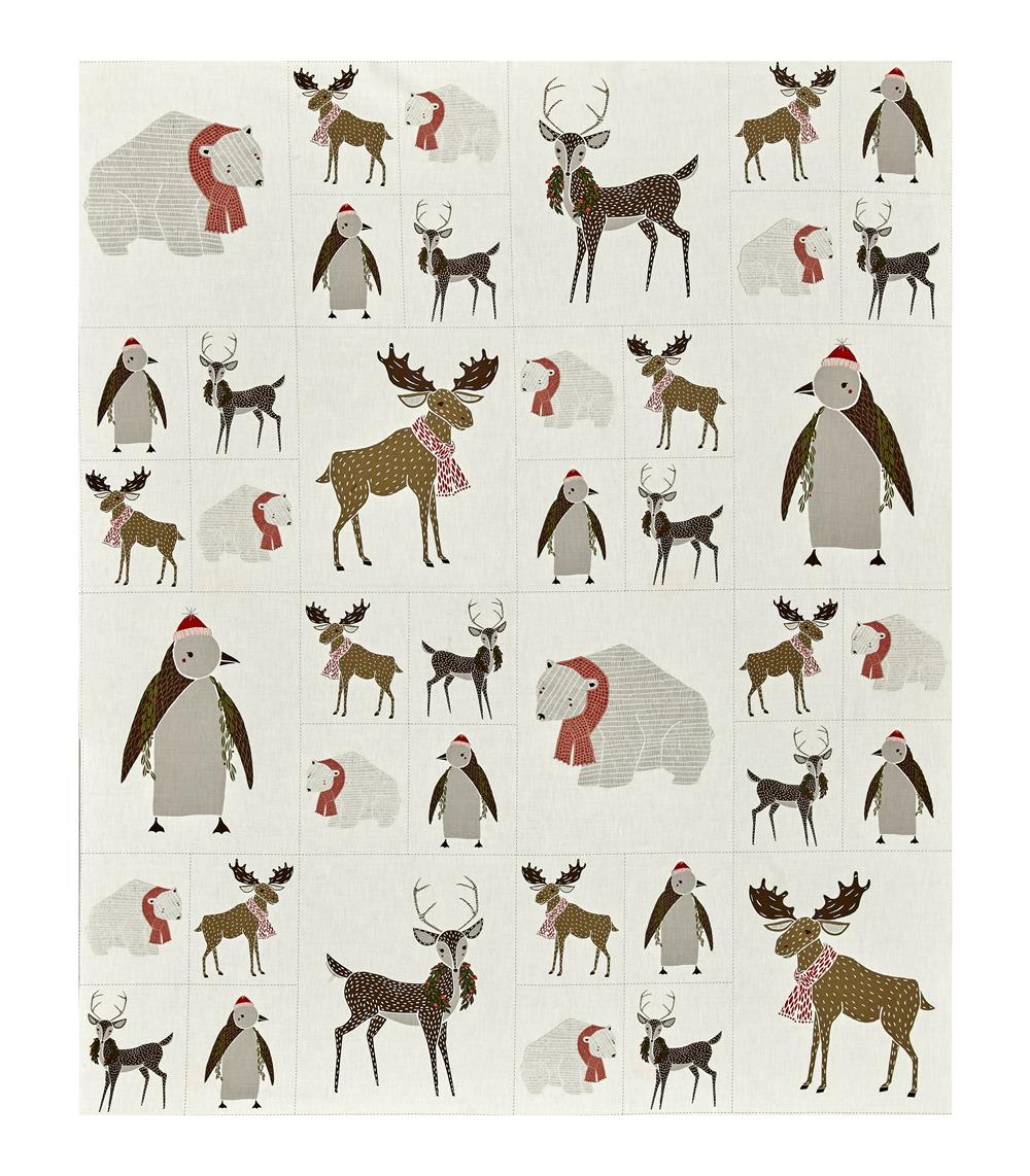 "Moda Merrily Critters Galore 23"" Panel Snow"