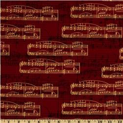 All That Jazz Sheet Music Crimson Fabric