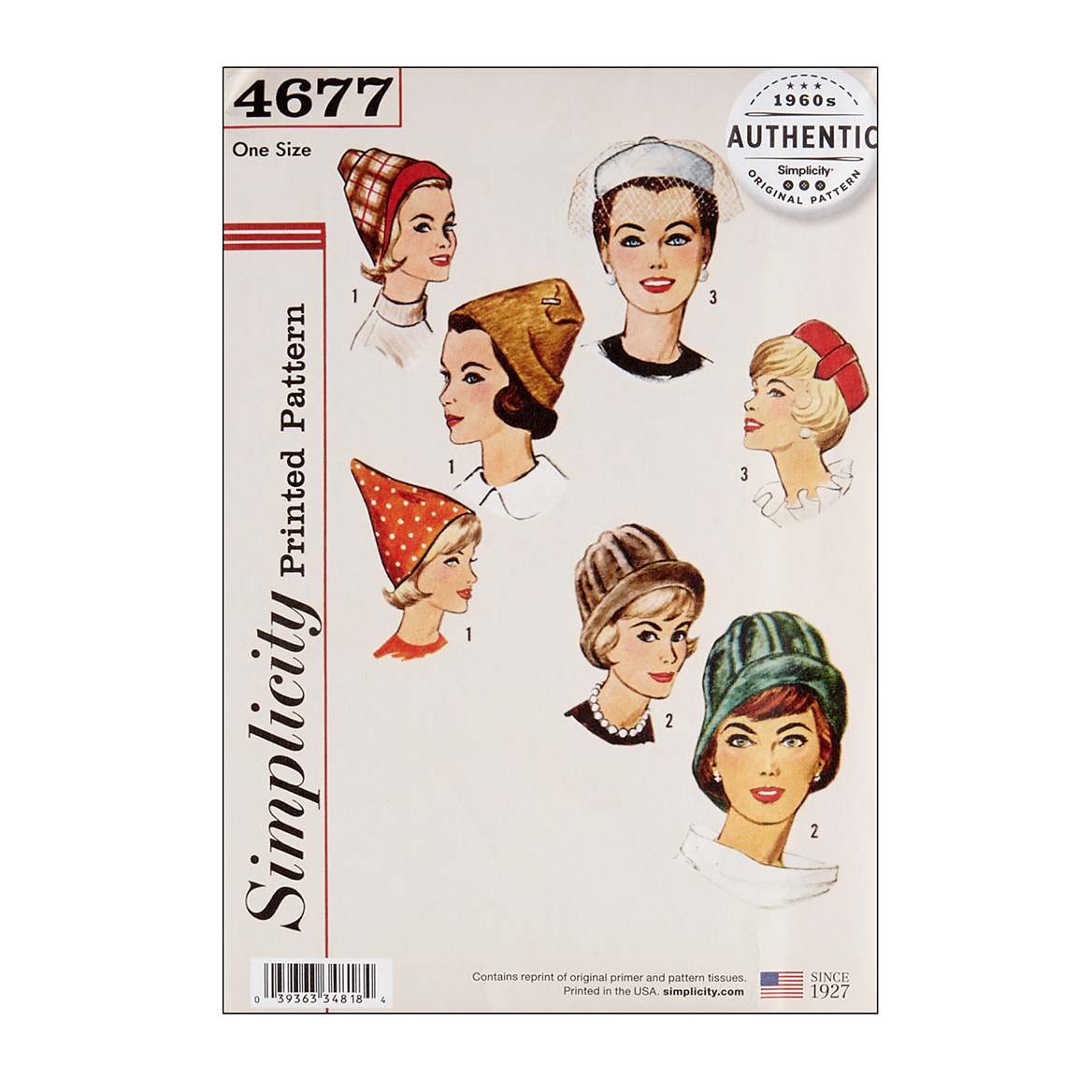 1950s Women's Hat Styles & History Simplicity 4677 Vintage Set of Hats OS One Size $13.77 AT vintagedancer.com