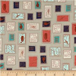 Cotton & Steel Homebody Stamps Light Grey Fabric