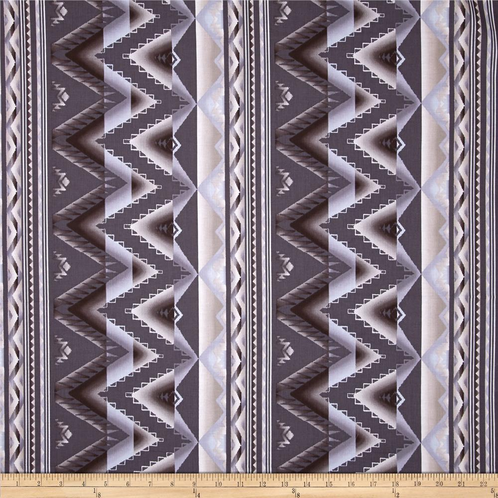 Kanvas The Great North Wilderness Western Blanket Silver Fabric By The Yard