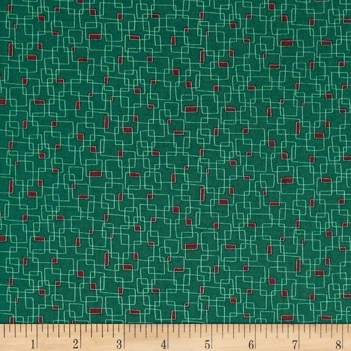 Moda Print Charming Geometric Boxes Dark Teal