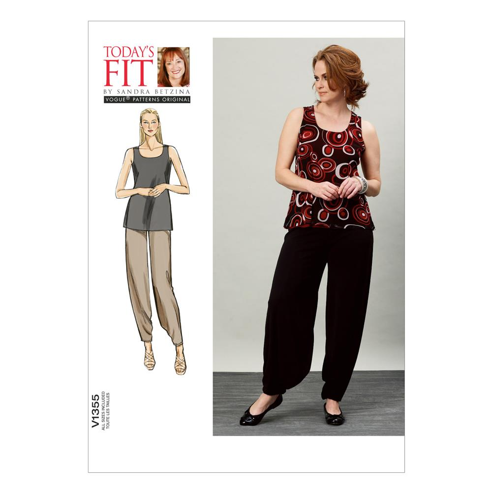 Vogue Misses' Top and Pants Pattern V1355 Size OSZ