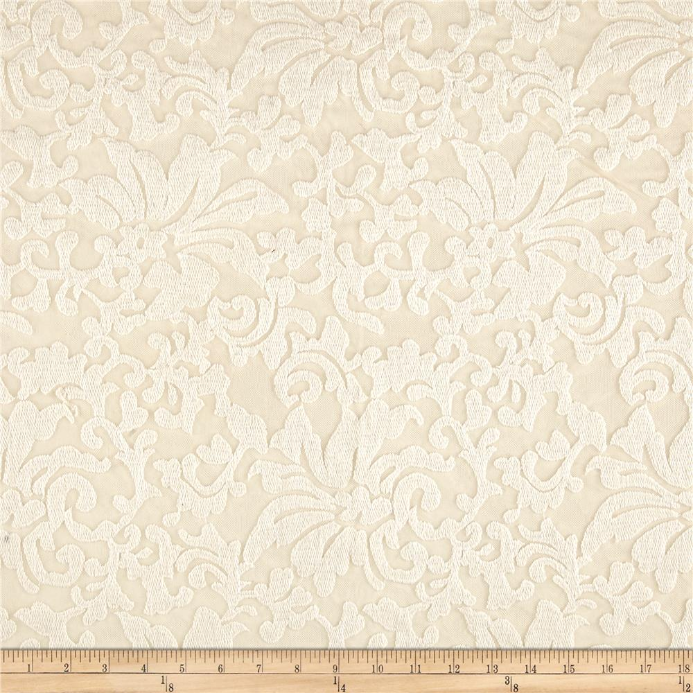 Stretch Mesh Lace Flourish Ivory
