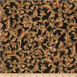 Moda Let it Glow Metallic Scroll Ebony