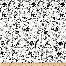 Illustrations 2 Floral Scroll White/Black Fabric