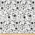 Illustrations 2 Floral Scroll White/Black