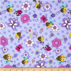 Comfy Flannel Bugs & Flowers Purple Fabric