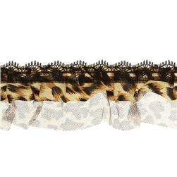 2'' Animal Print Lace Ruffle Trim Brown Multi