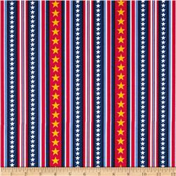 Peanuts Hugs for Heroes Star Stripe Red/Navy Fabric