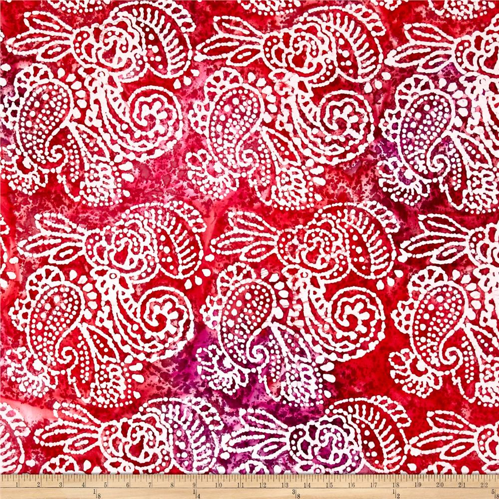 Indian Batik Cascades Paisley  Pink/Purple