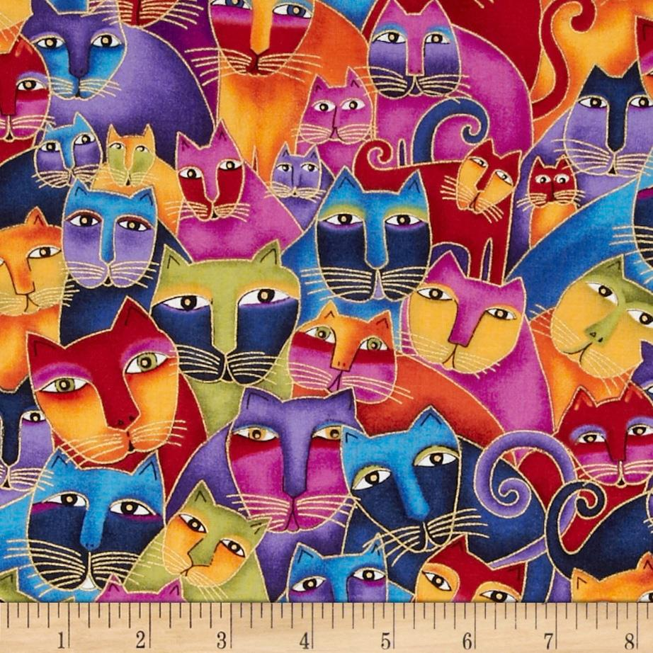 Laurel Burch Fabulous Felines Sitting Cats Multi Metallic