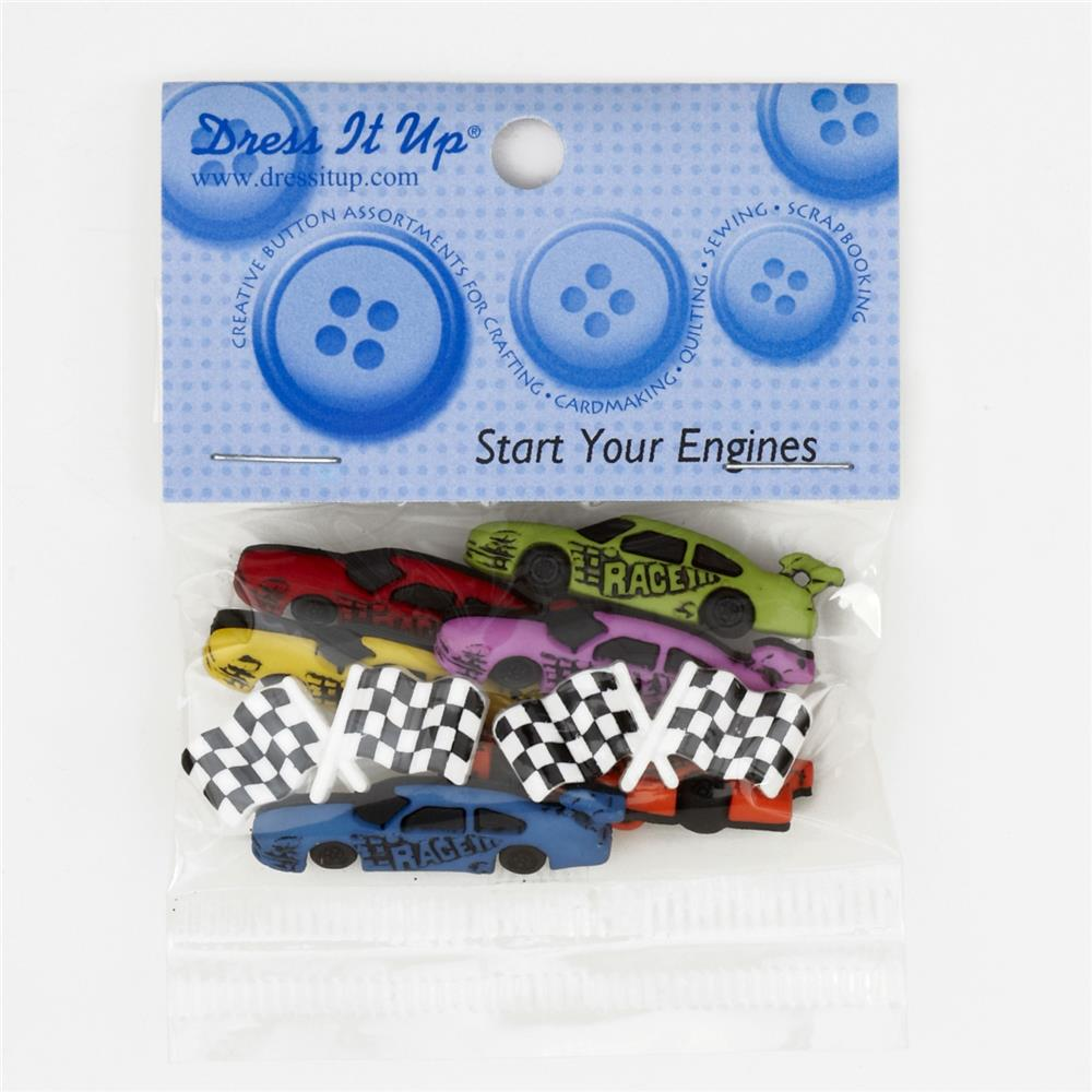 Dress It Up Embellishment Buttons  Start Your Engines