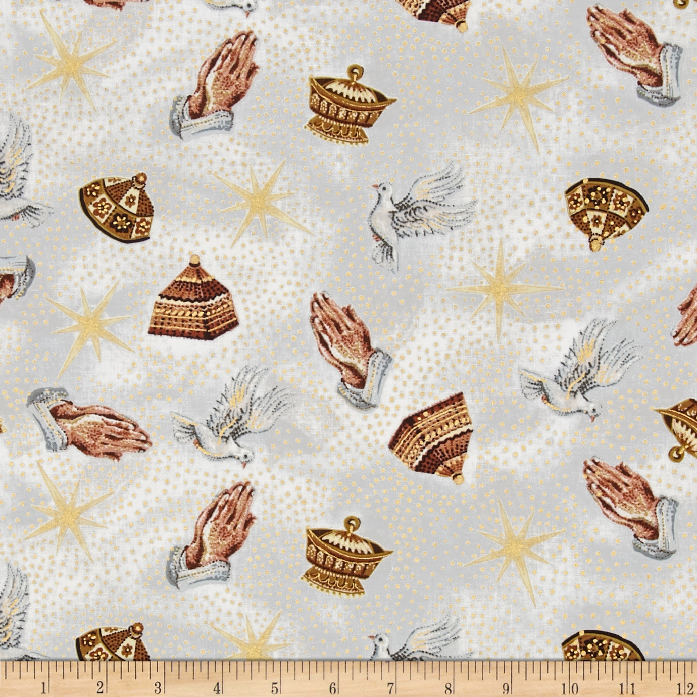 Nativity Metallic Praying Hands Gold Fabric by Exclusively Quilters in USA