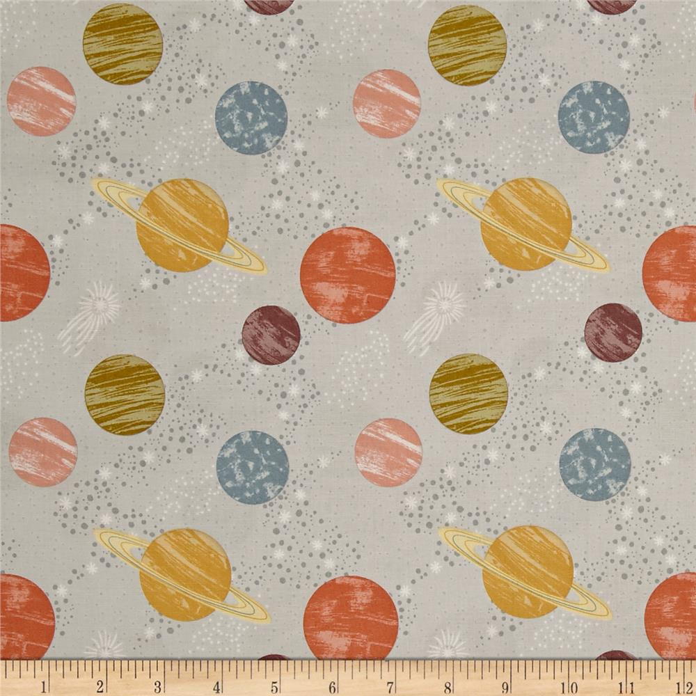To the moon back planets light grey discount designer for Planet print fabric