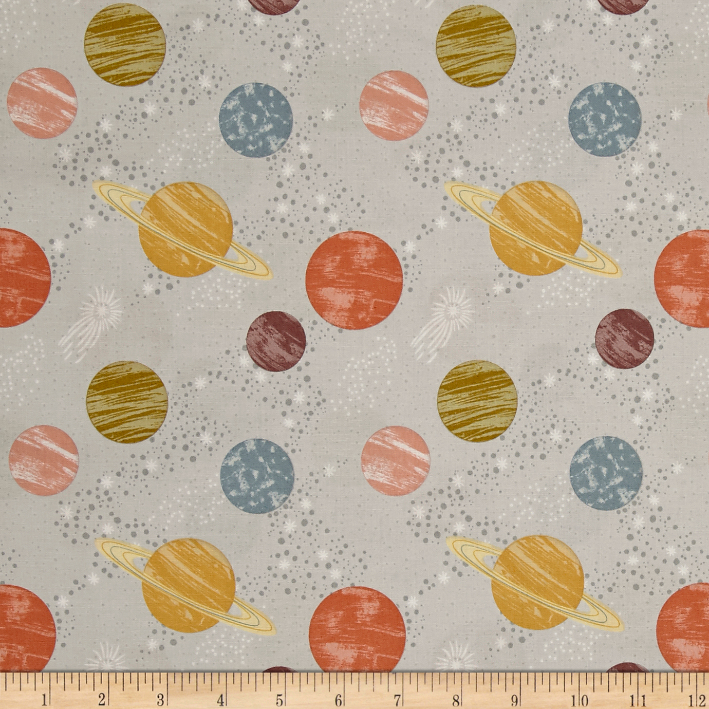 To The Moon & Back Planets Light Grey Fabric by E. E. Schenck in USA