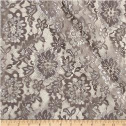 Foil Lace Flowers Taupe Silver