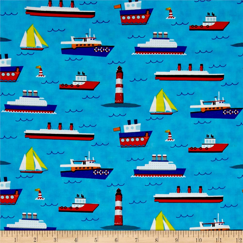 Travel around the world ships boats lighthouses blue for Fabric world