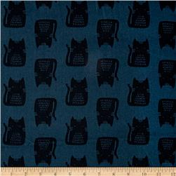 Maker Maker Linen Blend Cats Blue