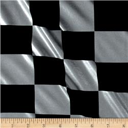 Spandex Lame Knit Checkerboard Print Black/Silver