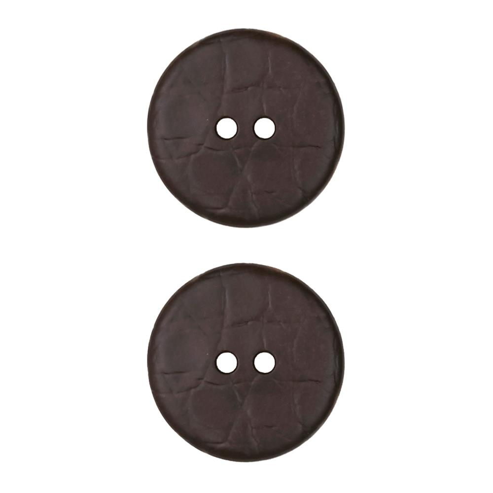 Dill Novelty Button 7/8'' Faux Leather Brown