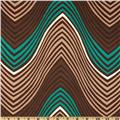 Stretch Rayon Blend Jersey Knit Zig Zag Green/Brown