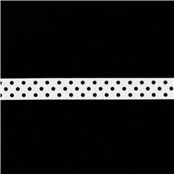 May Arts 5/8'' Grosgrain Dots Ribbon Spool White/Black