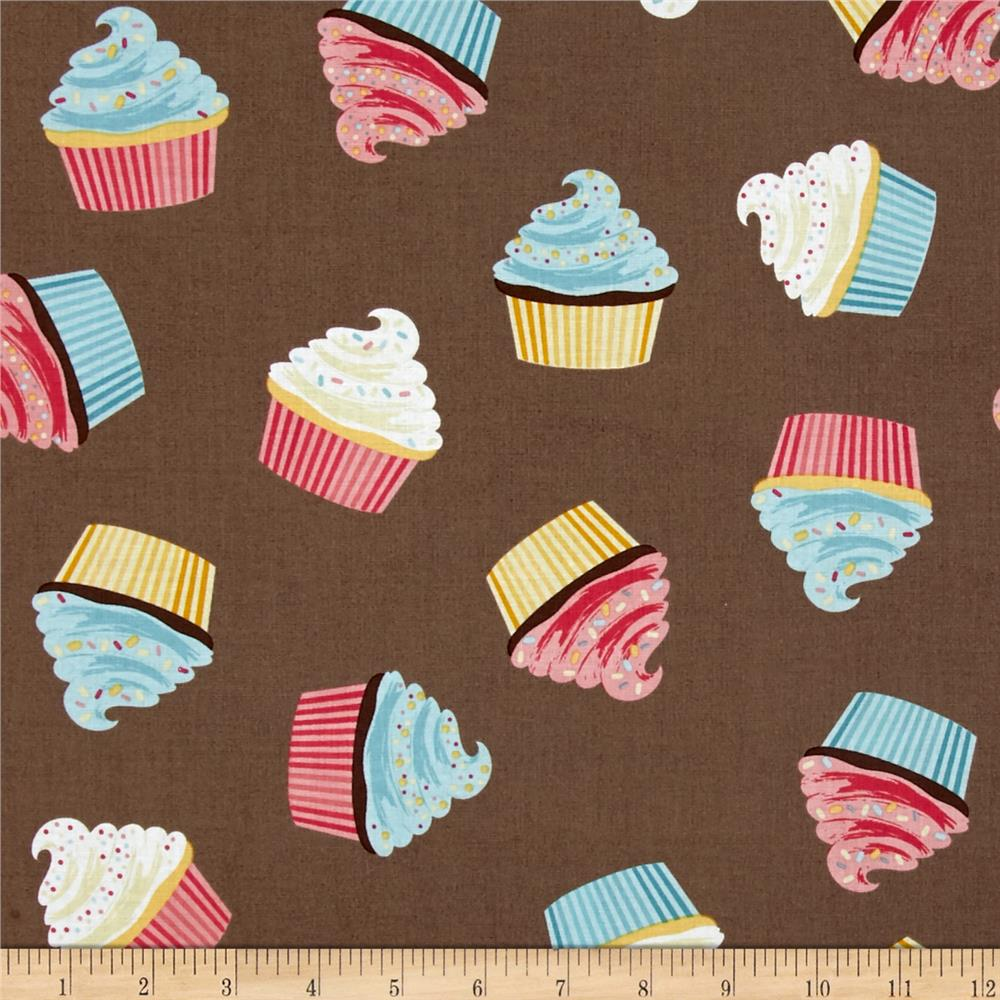 Riley Blake Designer Novelty Cupcakes Brown