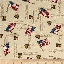 America Liberty Bell Flags Tan