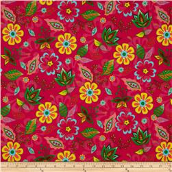 Flannel Leaves Hot Pink Fabric