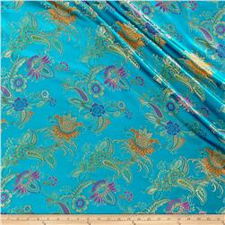 Chinese Brocade Floral Turquoise/Pink/Purple