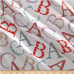 Michael Miller Cynthia Rowley Oh Baby Charmeuse Satin ABC Toss Pink