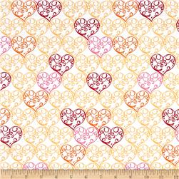 Love Bugs Scrolled Hearts White