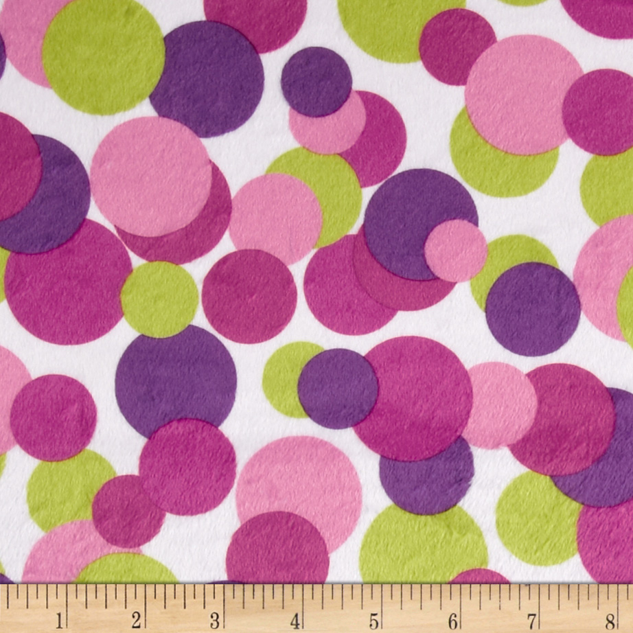 Minky Candy Circles Lime/Pink Fabric