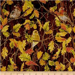 Autumn Air Metallic Birds And The Breeze Mahogany