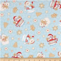 Cocoa & Cookies Flannel Tossed Snowman Blue Fabric
