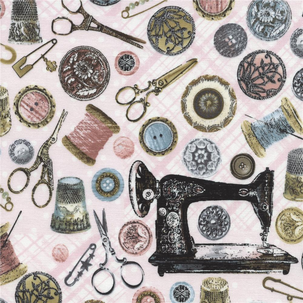 Timeless treasures antique sewing tools pink discount for Cheap sewing fabric