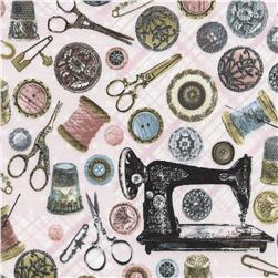 Timeless Treasures Antique Sewing Tools Pink Fabric