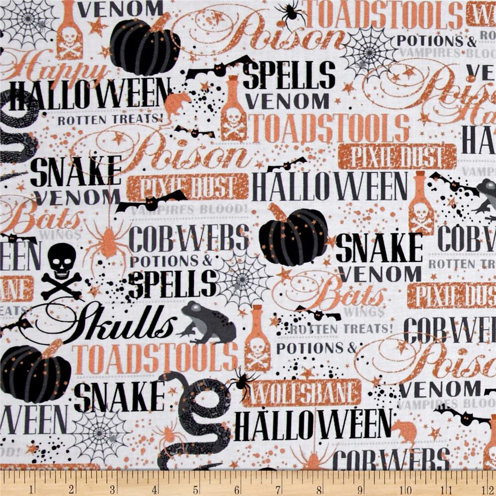 Potions & Spells  Metallic Halloween Lingo White