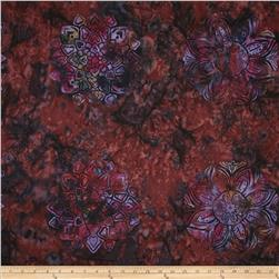 Bali Batiks Handpaints Medallion Tile Rum Raisin Fabric