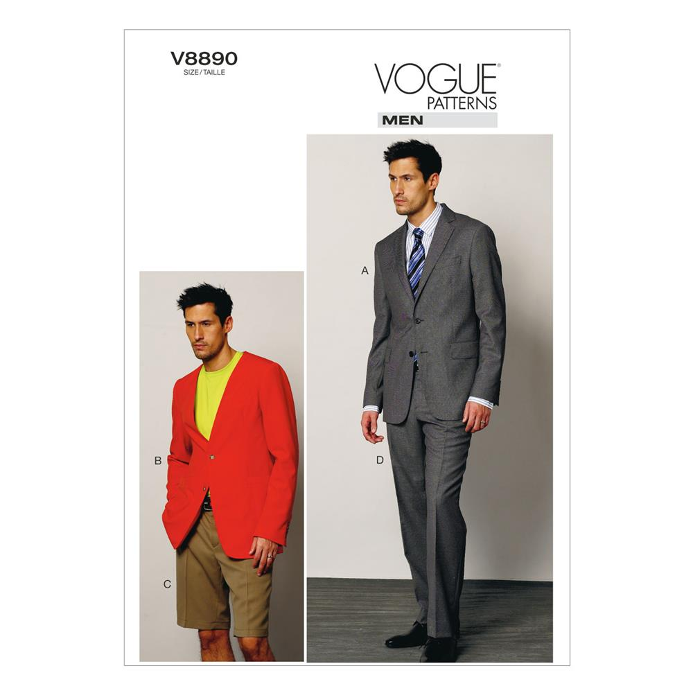 Vogue Men's Jacket, Shorts, and Pants Pattern V8890 Size MUU