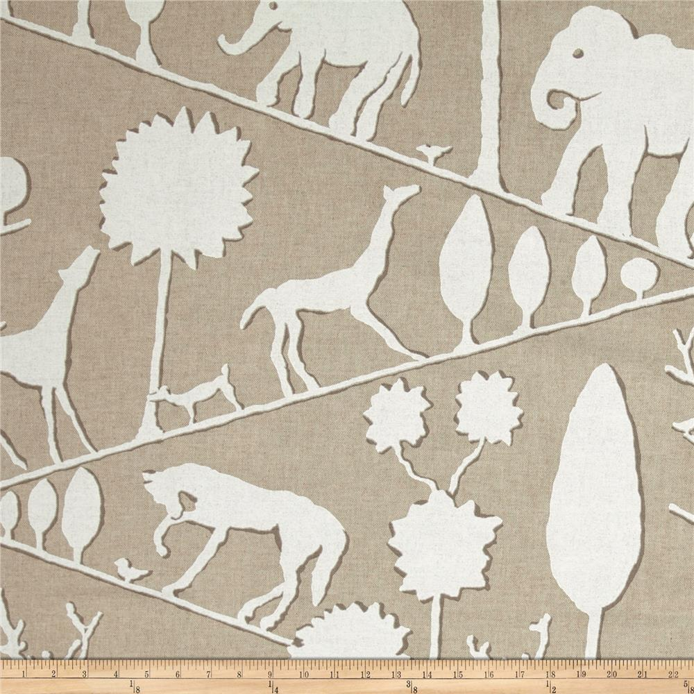 Braemore Jungle Walk Linen Blend Natural Fabric By The Yard