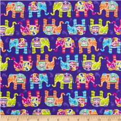 Timeless Treasures Elephants Purple Fabric