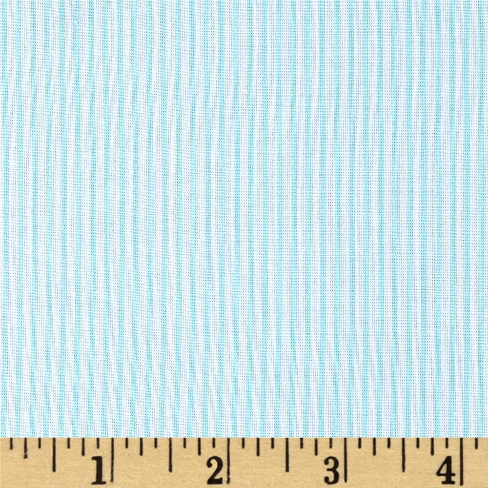 Cotton Broadcloth Printed Stripes Mint/White