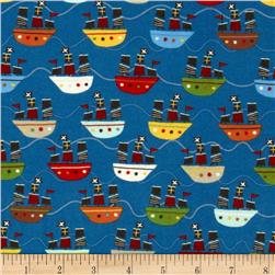 Riley Blake Treasure Map Flannel Treasure Boats Navy