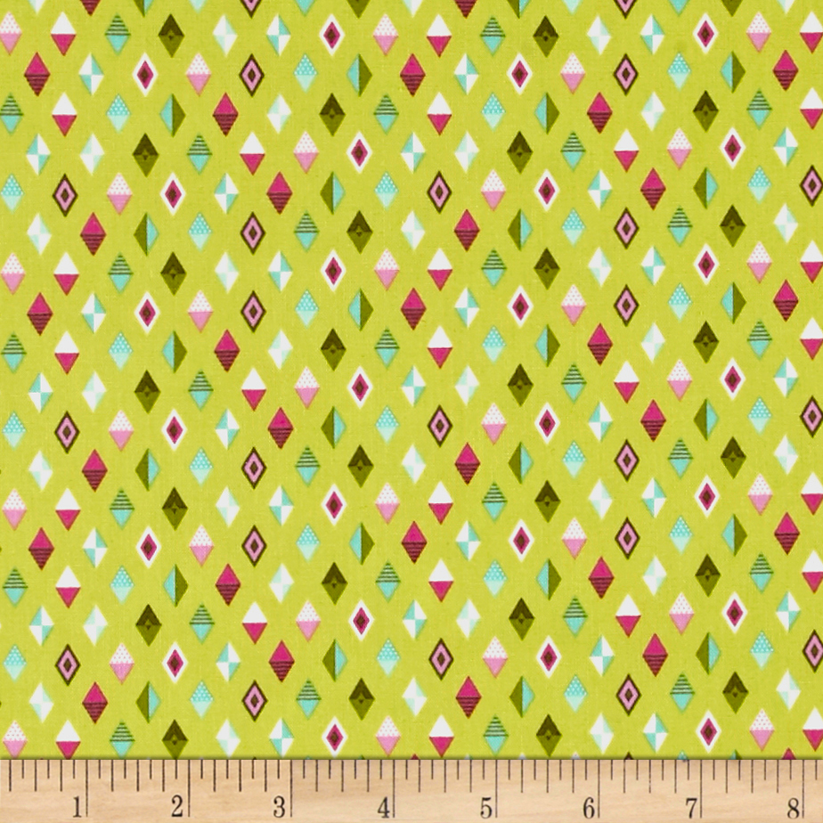 Image of Tula Pink Slow & Steady Track Flags Tula Pink Slow & Steady The Hare Strawberry Kiwi Fabric