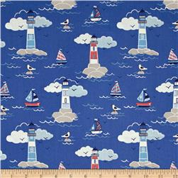 Lewis and Irene Coastal Lighthouses and Sailboats Dark Blue