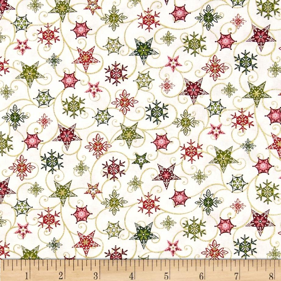 Holiday Magic Twirling Stars White