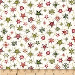 Holiday Magic Twirling Stars White Fabric